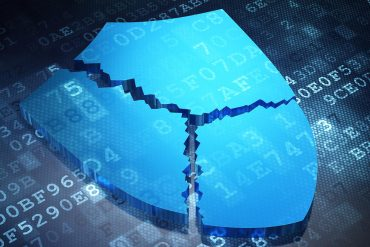 Broken shield as armour on blue digital background
