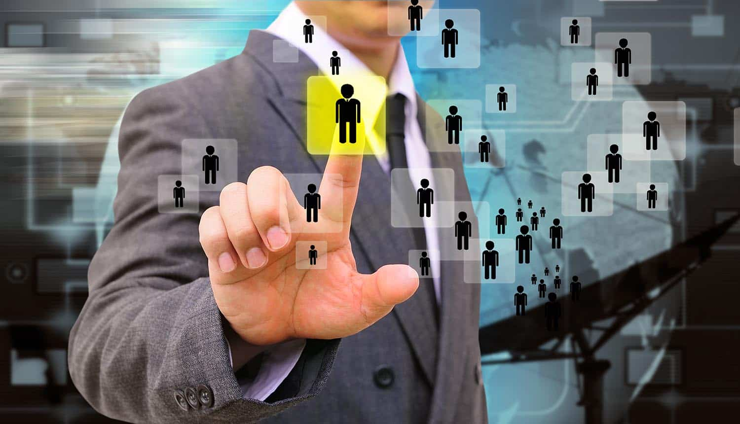Image of man using finger to select a person in a network representing difficulty of employers finding the employee privacy sweet spot