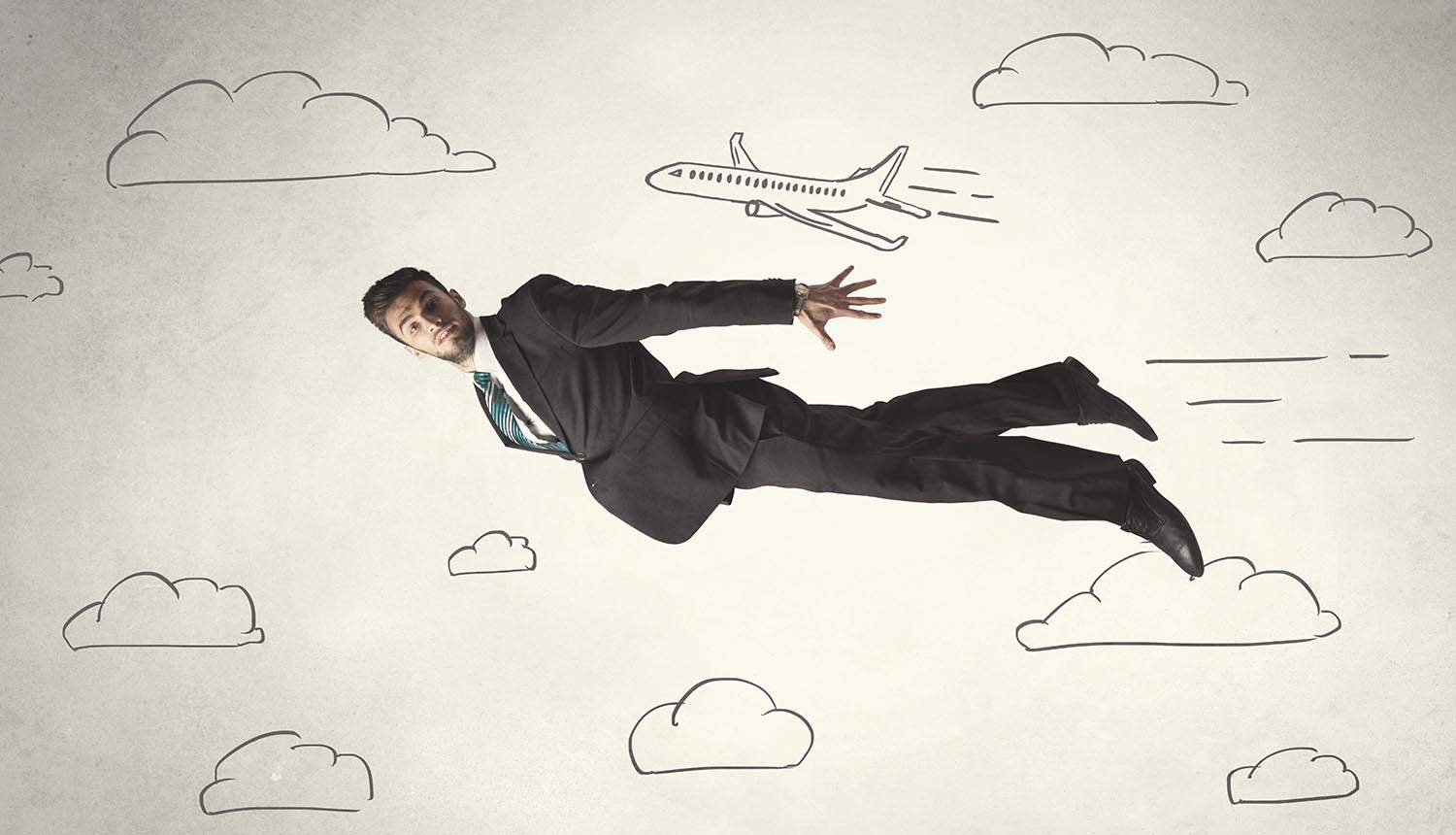 Image of man flying among clouds representing data protection regulations from cloud technology perspective