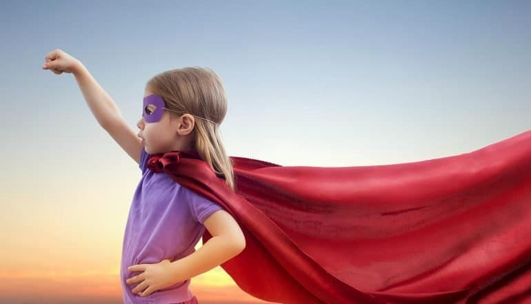 Image of girl with mask and cape representing the requirement for a new type of information technology and security professional
