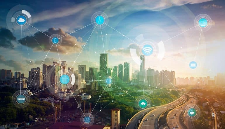 Image of city with overlay of connected devices representing the concern of data privacy for the internet of things