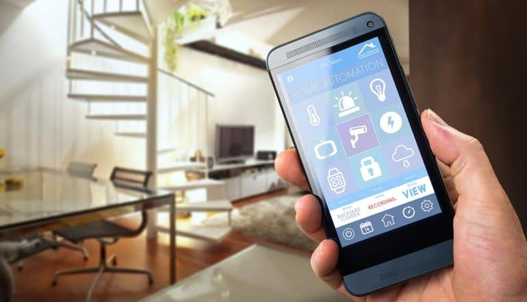 Image of mobile phone app controlling smart home devices representing how devices invade your privacy