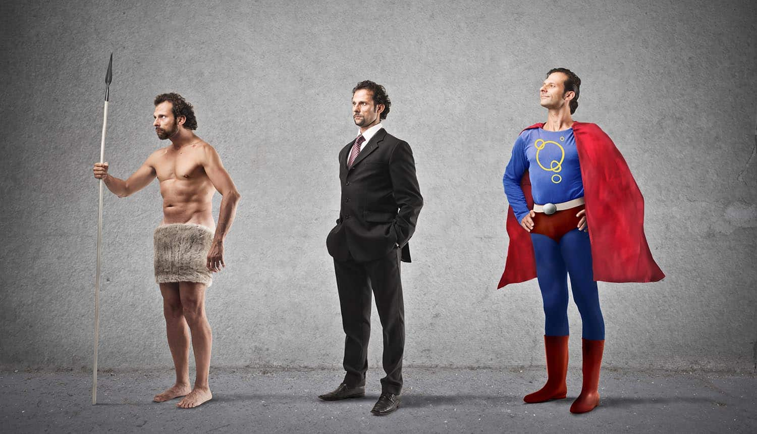 Image of caveman, businessman and superhero representing evolution of the role of the chief privacy officer in 2020