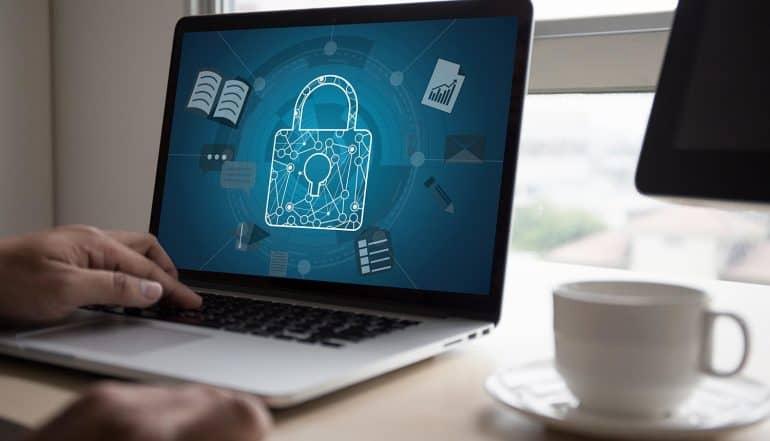 Login screen on laptop showing online trust issue