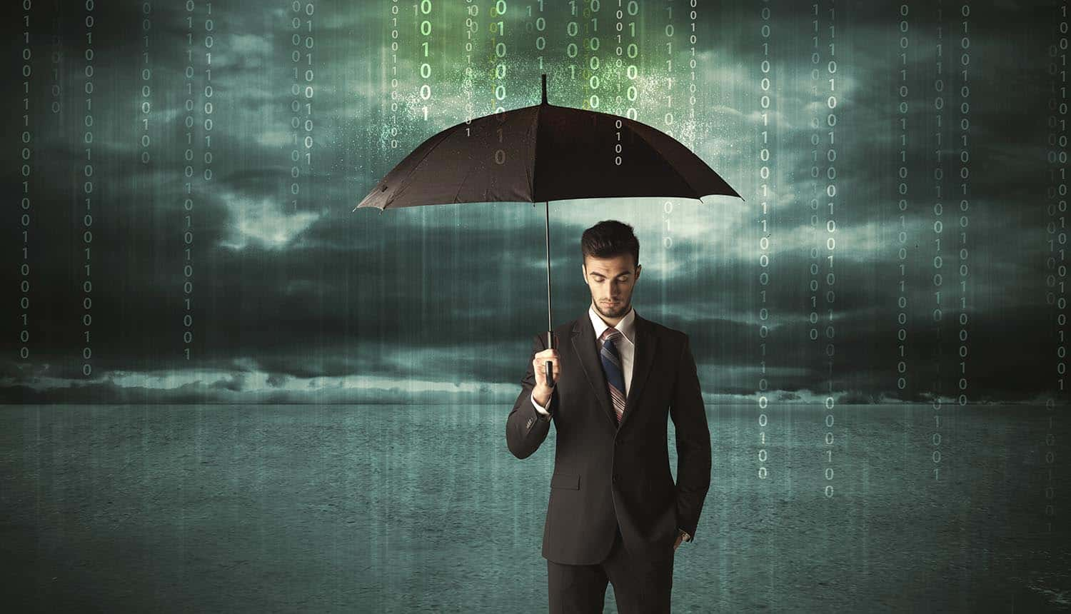 Image of businessman holding umbrella in a digital rain representing the need for businesses to get cyber liability insurance