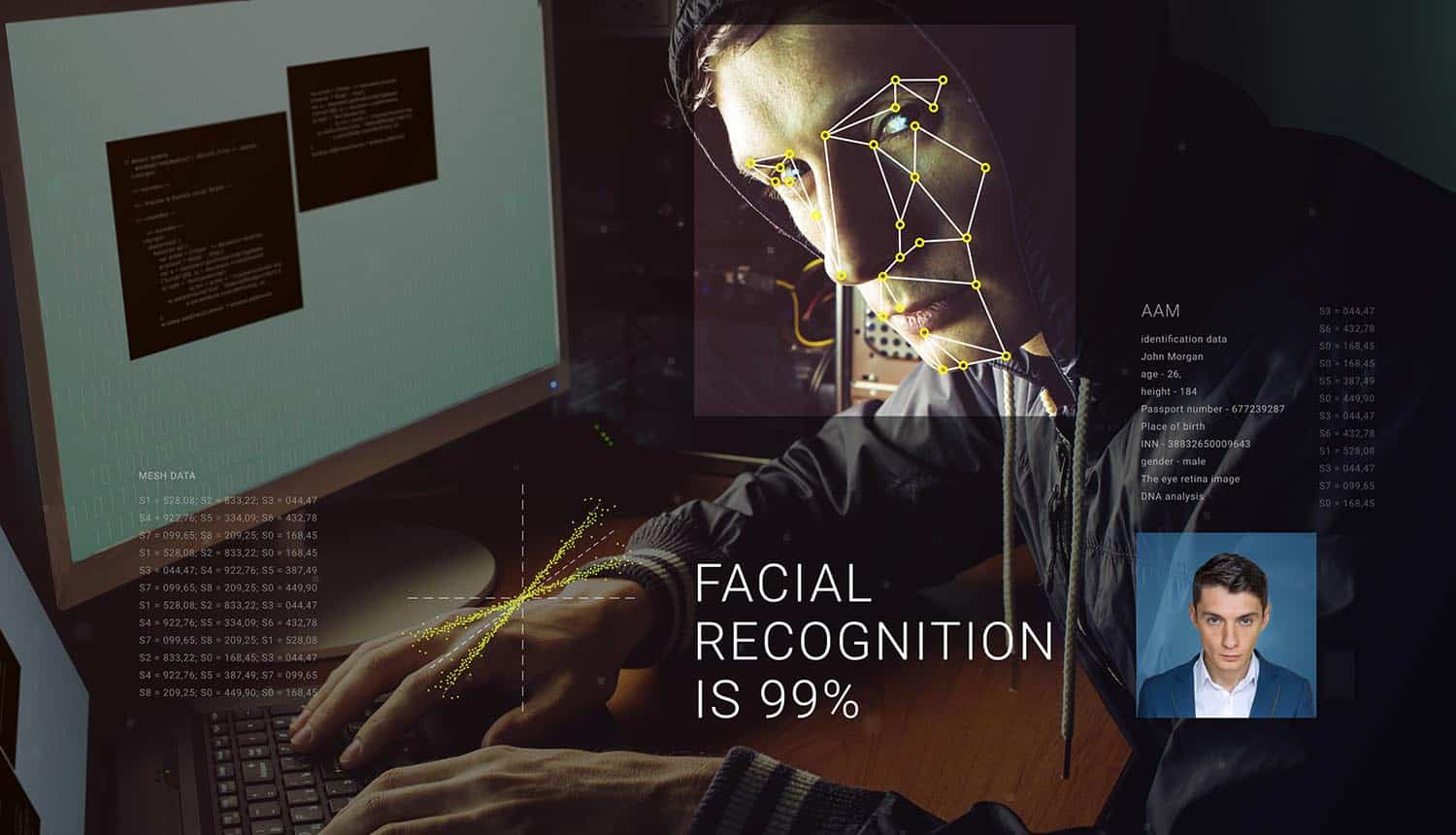 Image of man in front of computer and identified by facial recognition technology signifying the concerns of privacy and mass surveillance