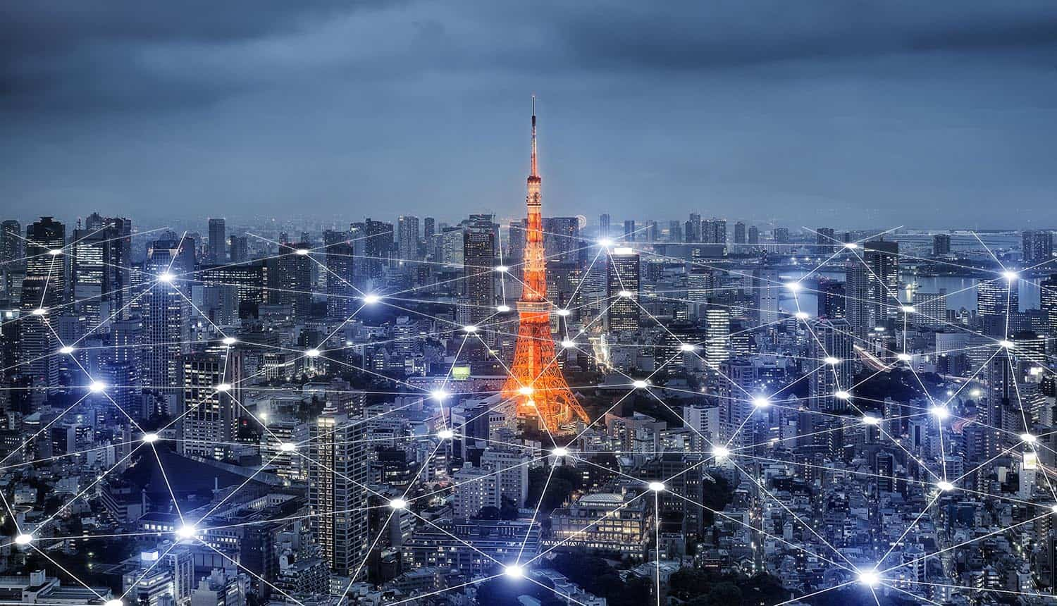 Image of city skyline with overlay of network connections signifying the Internet of Things and the way forward from potential failure to success