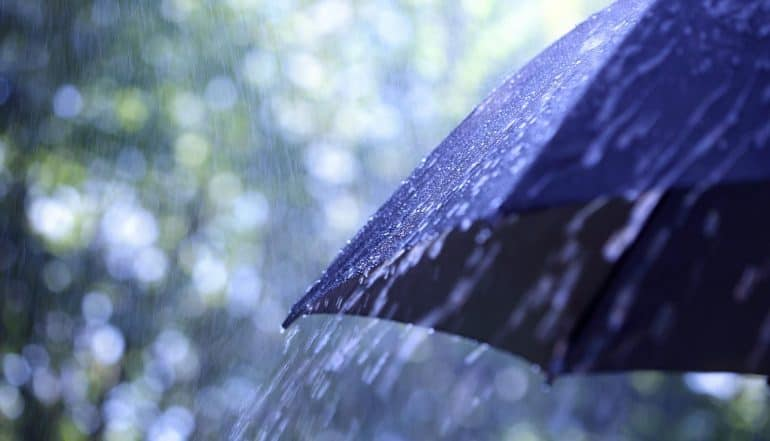 Image of umbrella in the rain representing cyber insurance for public sector agencies