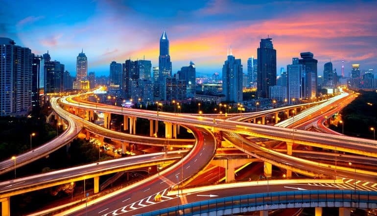 Image of highways over a China city representing China's cybersecurity law driving towards cyber sovereignty