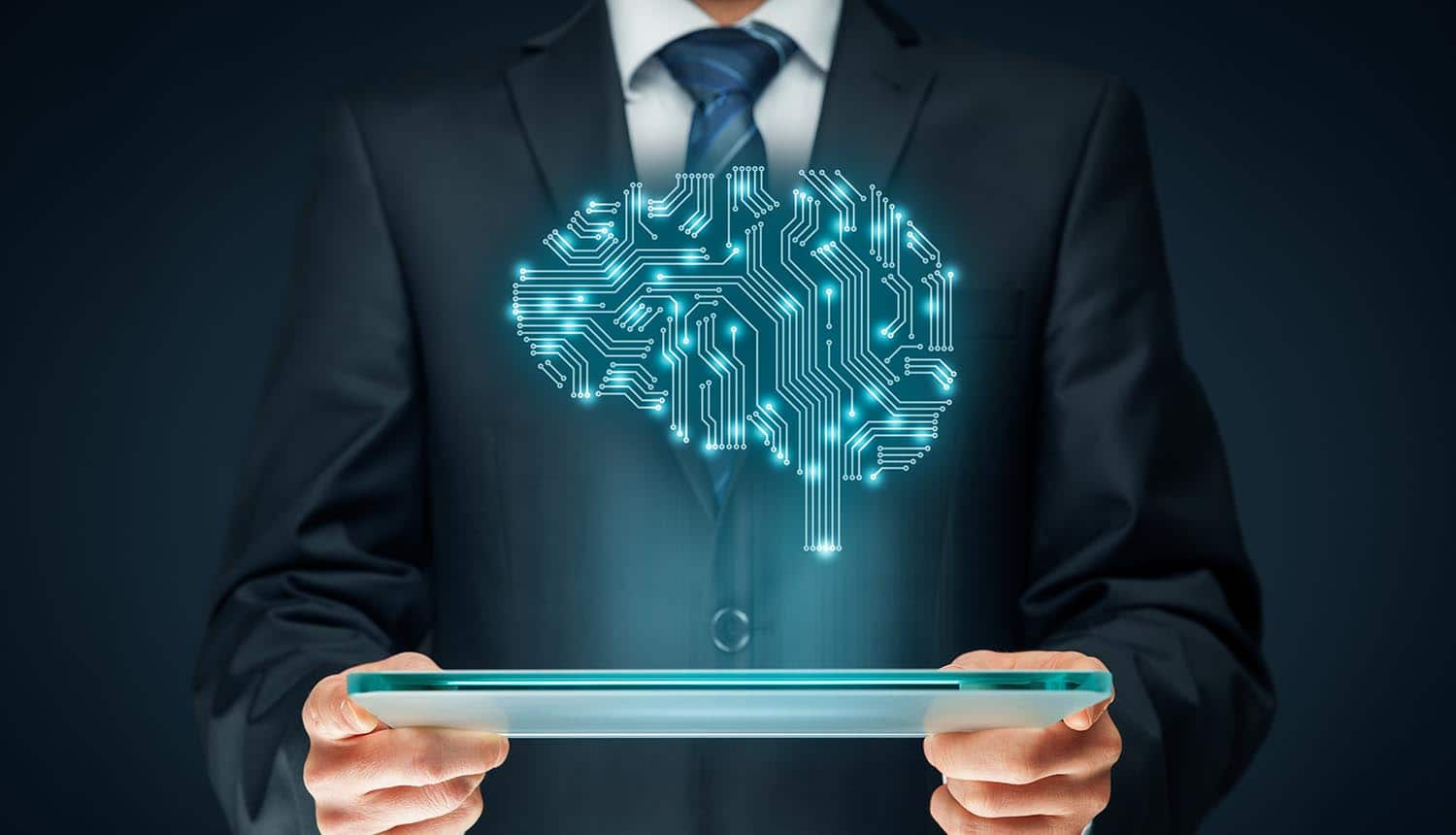 Image of man holding a tablet and an electronic brain projected above showing the concerns of AI and algorithms for EU GDPR compliance