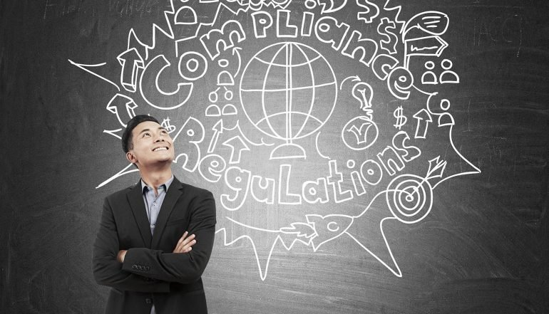 Image of man standing in front of wall with the words compliance and regulations to signify need for buying privacy software