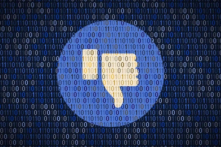 Image of inverted Facebook 'Like' icon against a backdrop of bits representing how action was not taken for security warnings from experts
