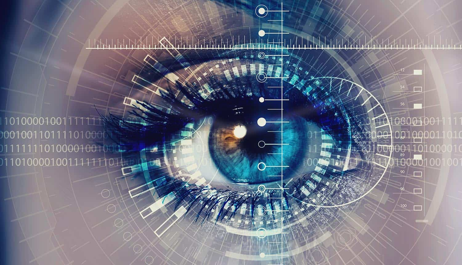 Image of eye being scanned as a means of biometric identification