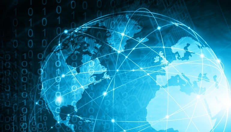Image of digital world with data-driven technologies and network communications