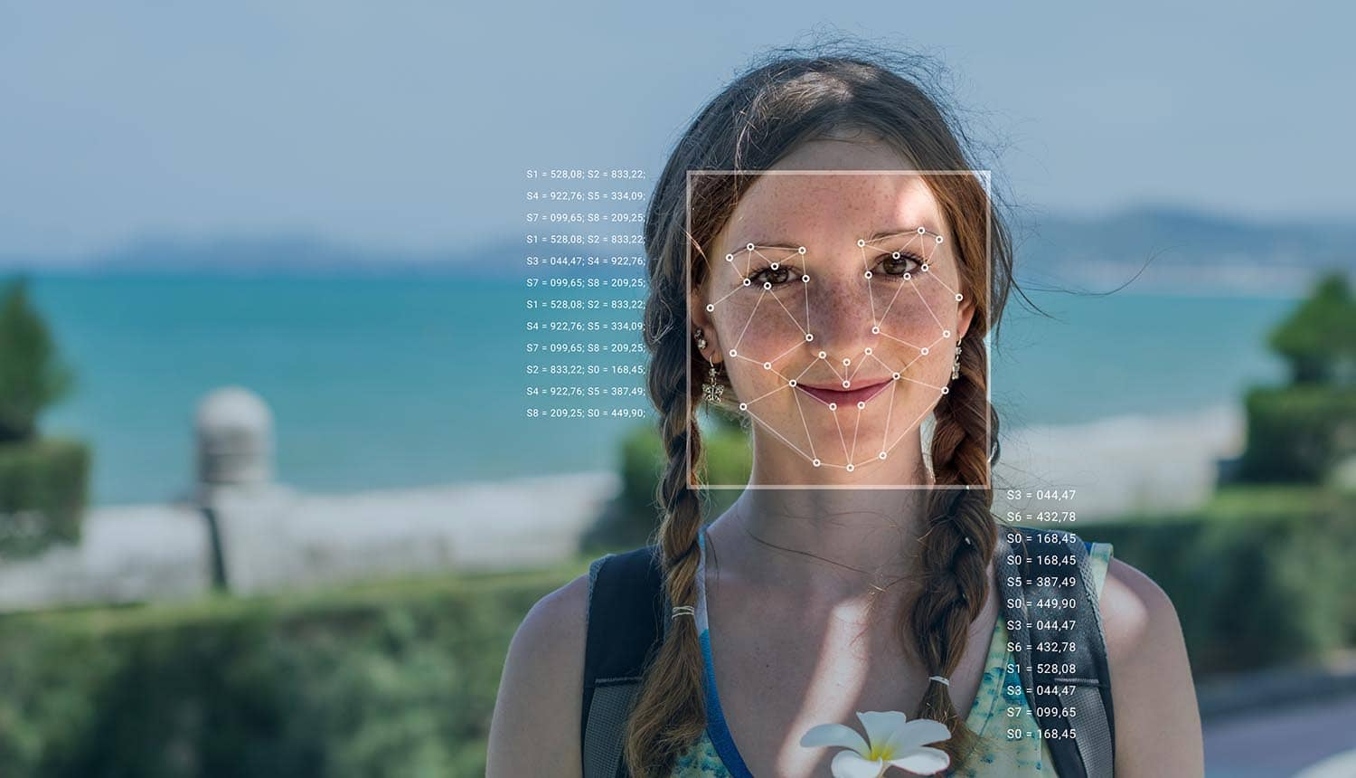 Recognition of a female face by layering a mesh and the calculation of the personal data by the software