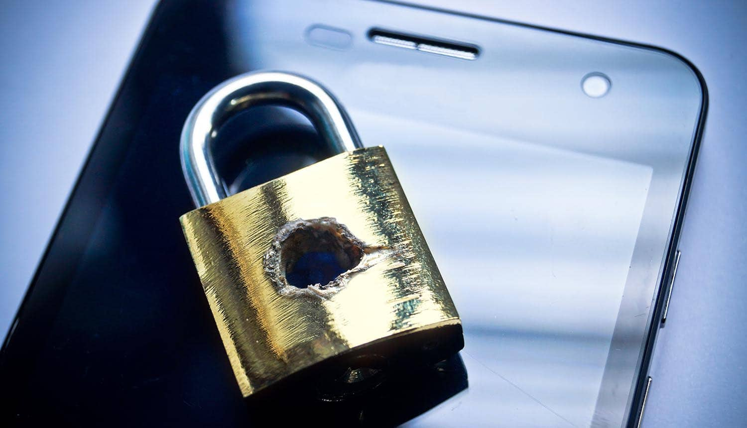 Image of lock with bullet hole on a cell phone