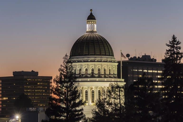 California State Capitol building at dusk