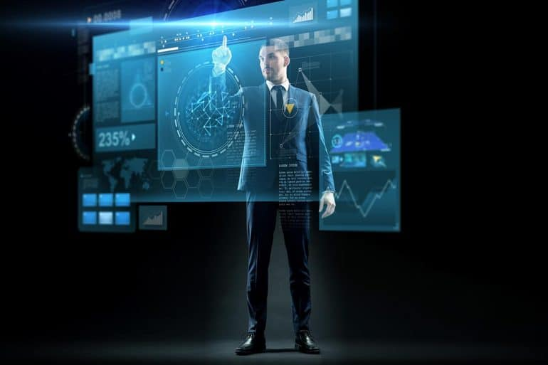 Businessman in suit touching virtual screen, performing data mining and analysis