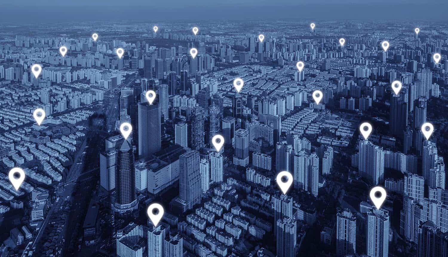 Map of location pins flat of network connection in city
