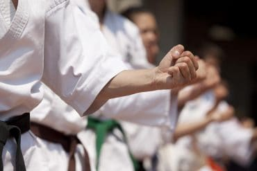Karate practitioners preparing for a battle