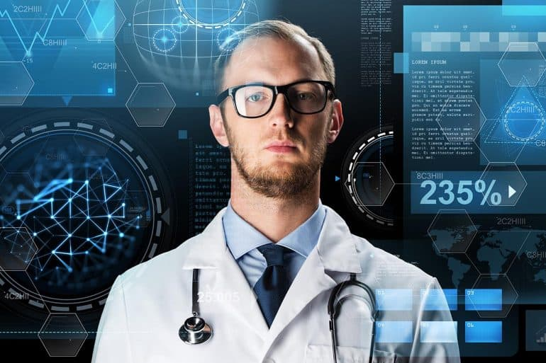 Doctor in white coat with stethoscope and virtual screens showing DNA analysis