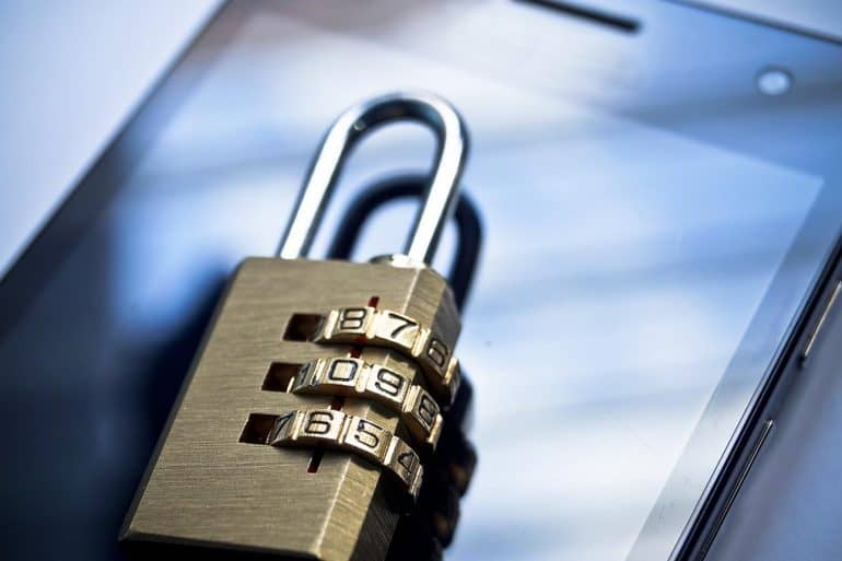 Lock on smartphone showing use of two-factor authentication