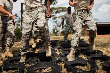 Military soldiers training in military camp showing how civilian technology can have an impact like the Strava heat map incident