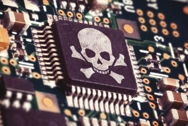 Motherboard with microchip with skull and crossbones showing supply chain attack by Chinese spies