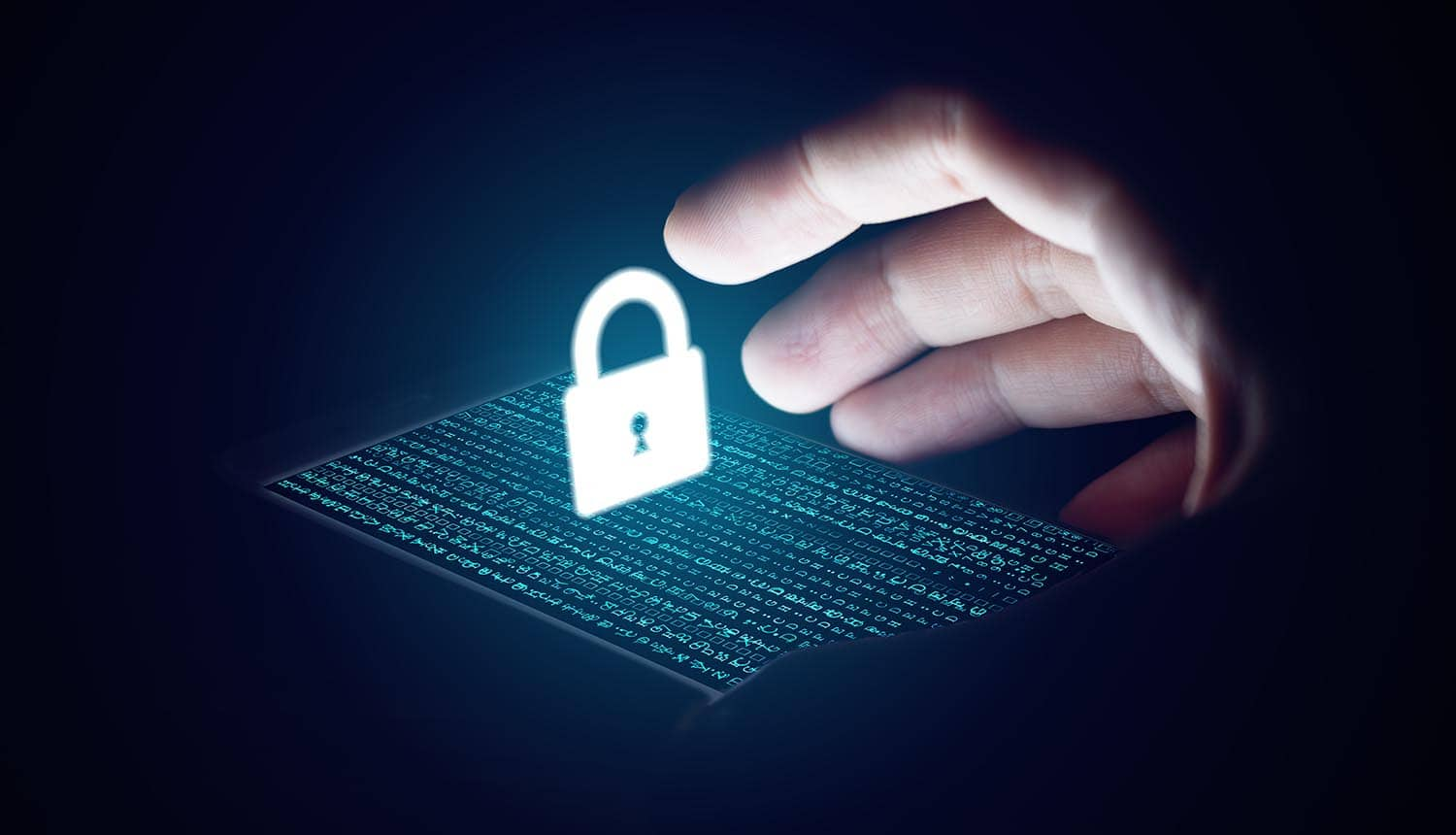 Hand reaches out towards secure lock on smartphone showing Five Eyes proposal to weaken encryption