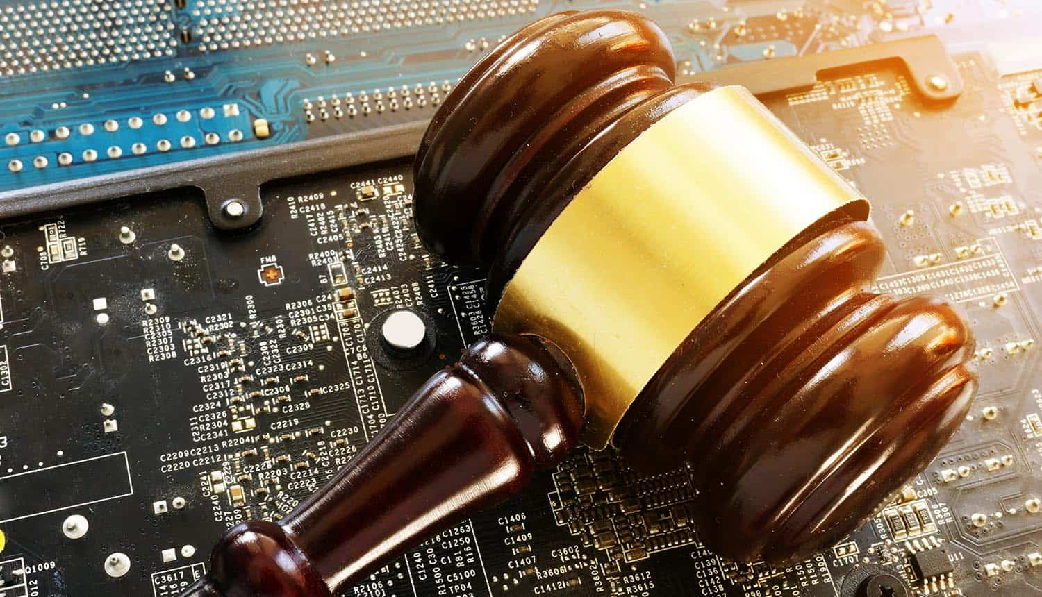 Gavel and electronic chip board showing Intel's proposed federal privacy bill