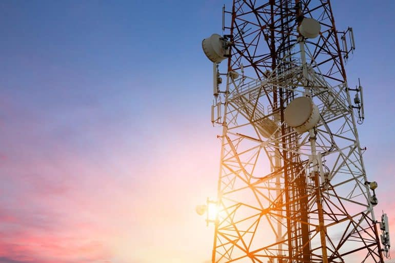 Satellite dish telecom network at sunrise showing Huawei cyber security push