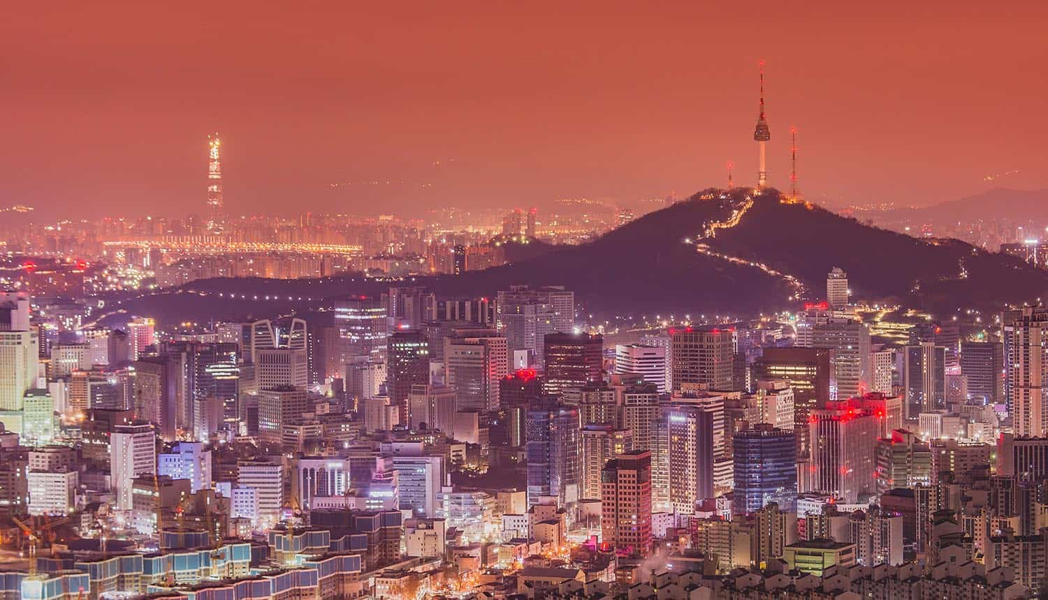 Downtown skyline of Seoul, South Korea with Seoul Tower showing the cyber attack on the South Korea defense agency