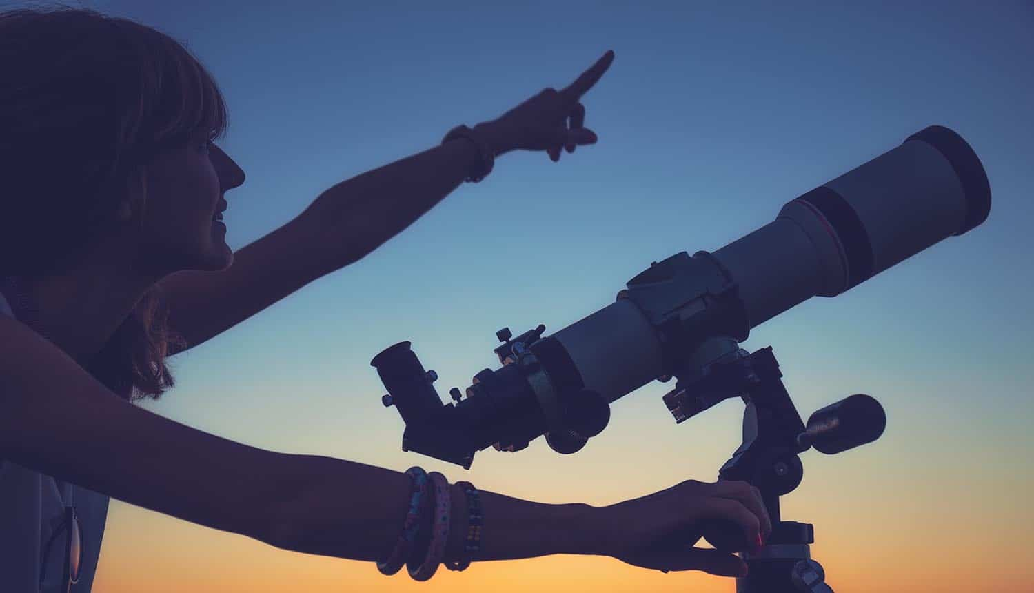 Girl looking at the stars with telescope beside her showing what to expect in 2019