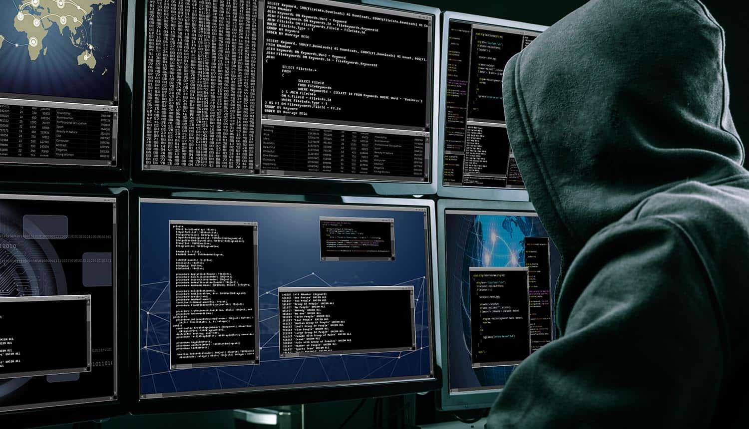 Rear view of a hacker using multiple computers for identity theft and cybercrime
