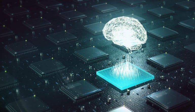 Image of brain above circuit board showing what enterprises need for successful AI