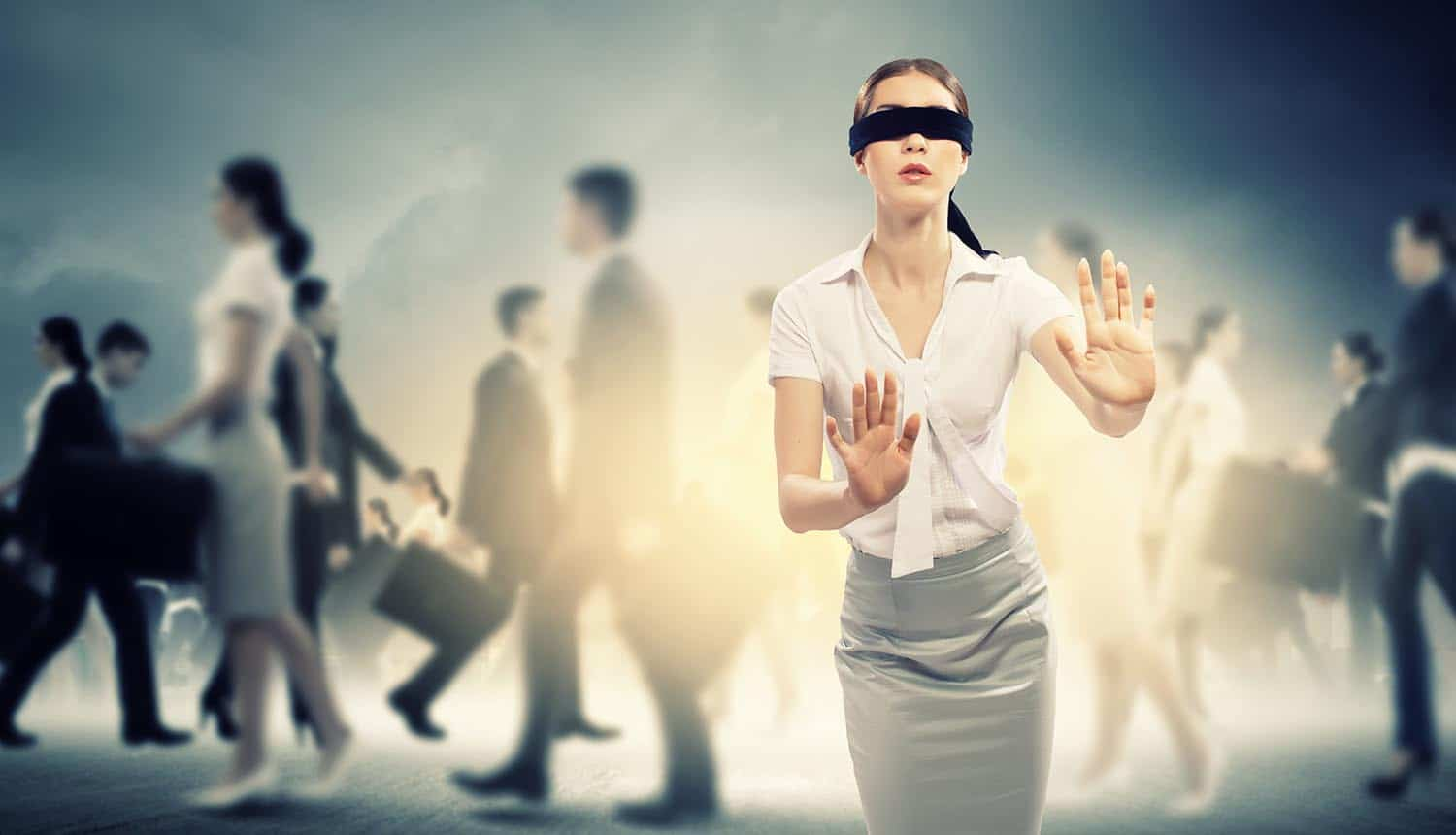 Woman in blindfold walking among group of people showing how Americans are lost when dealing with data breaches