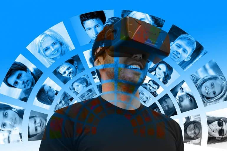 Man using VR goggles showing security concerns of digital recreation