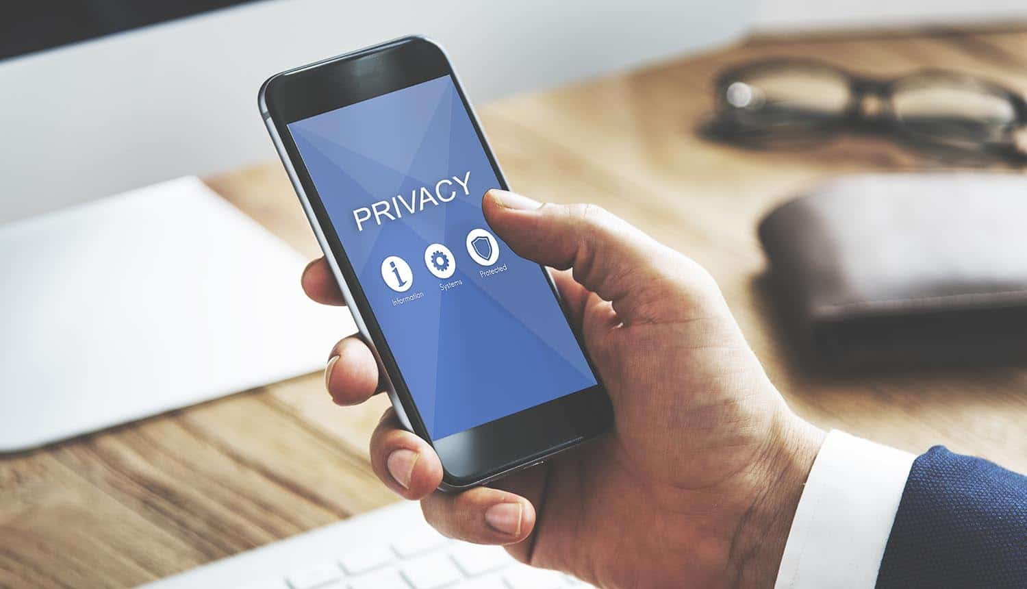 Privacy screen on mobile phone showing need to stay safe and secure our data