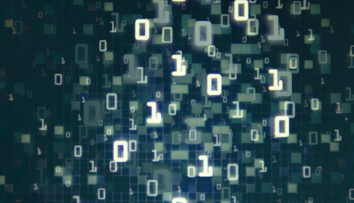 Matrix of binary numbers going in and out of focus showing the potential privacy blind spot resulting from data sharing and data inventory practices