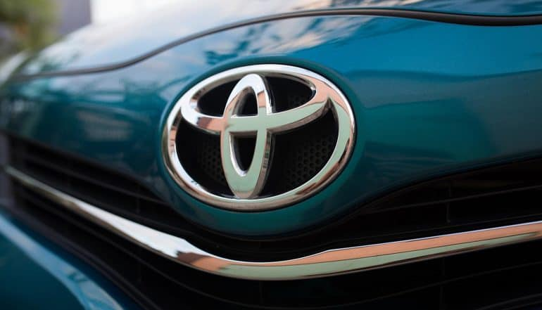 Toyota logo on a car showing Toyota Motor Corporation as a victim of a series of data breaches in Australia, Thailand, Vietnam and Japan