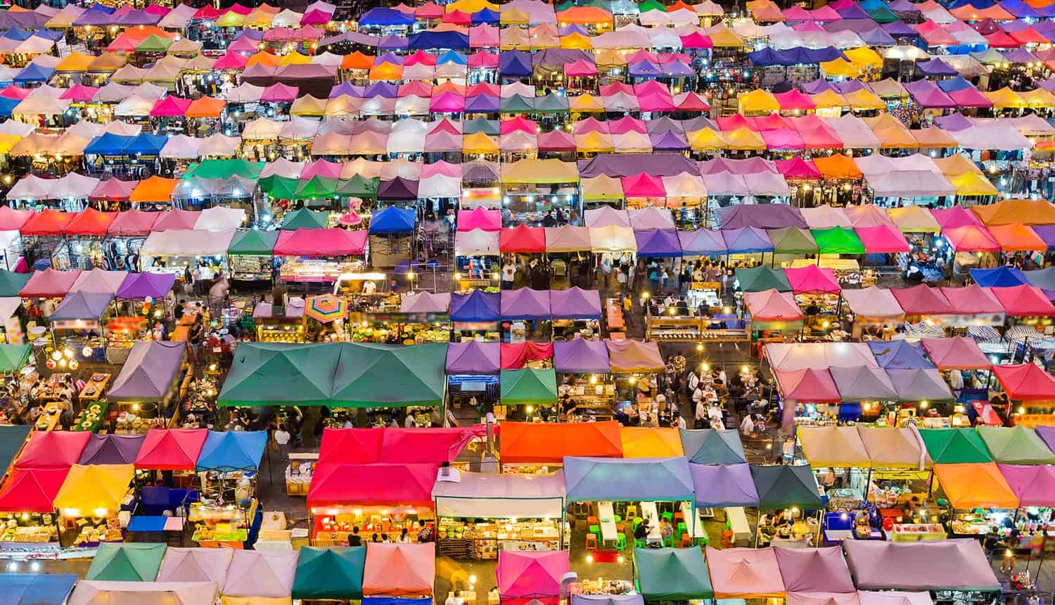 Top view multiple colour night market showing personal data marketplace might not be the best solution for data privacy