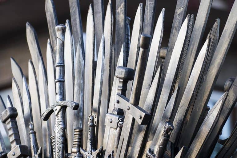 Throne made of swords showing Game of Thrones TV show used as a means for malware and phishing attacks