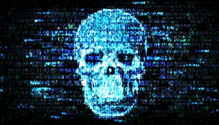 Skull against hexadecimals background showing an increase of ransomware attacks in spring 2019