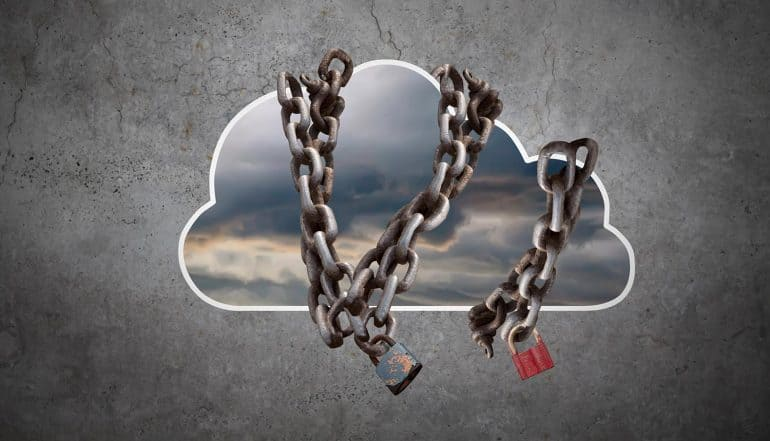 Chain locks over cloud showing the top threats for cloud security