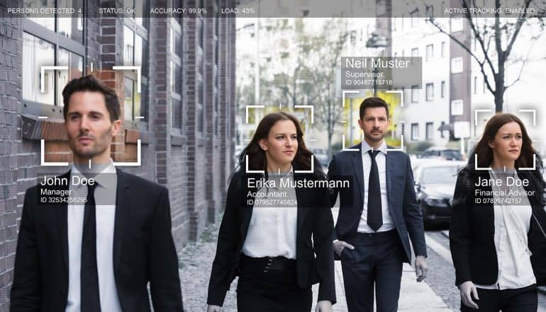 Facial recognition applied to people walking on street showing the ban of facial recognition technology for all San Francisco city departments