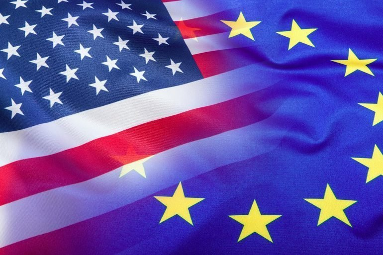 Flags of U.S. and European Union showing the difference in approach towards GDPR compliance by U.S. and Europe