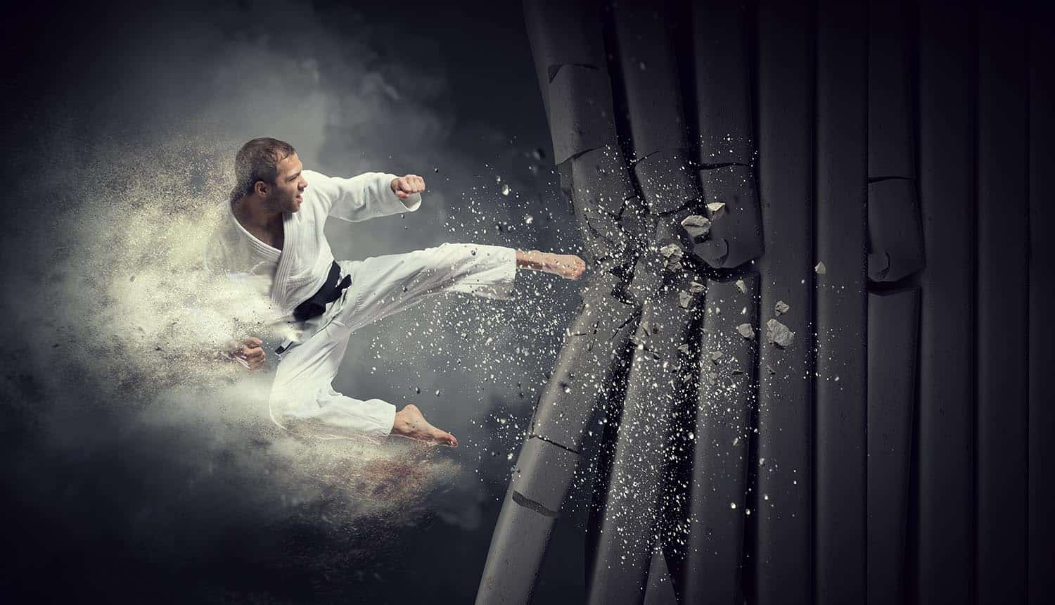 Karate man breaks wall showing Israel's cyber response using missile strike