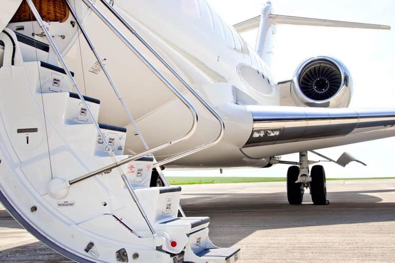 Stairs to private jet plane showing privacy could become a luxury good in future