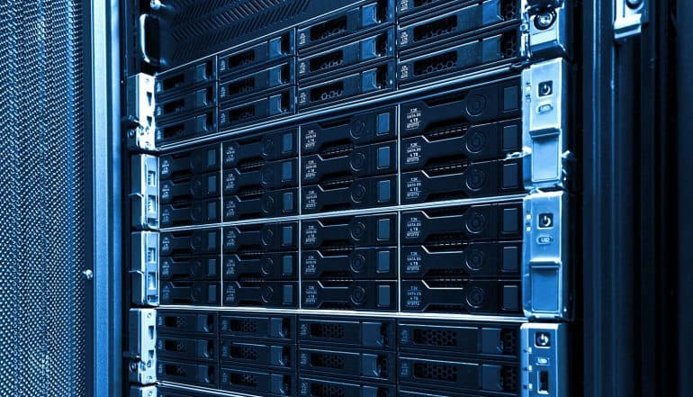 Storage rack in data centre showing third party data breach of 90 hotels' security logs