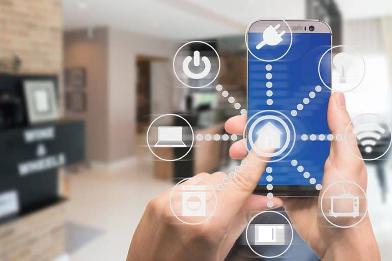 Smart home automation app showing how IoT devices can become entry points for hackers